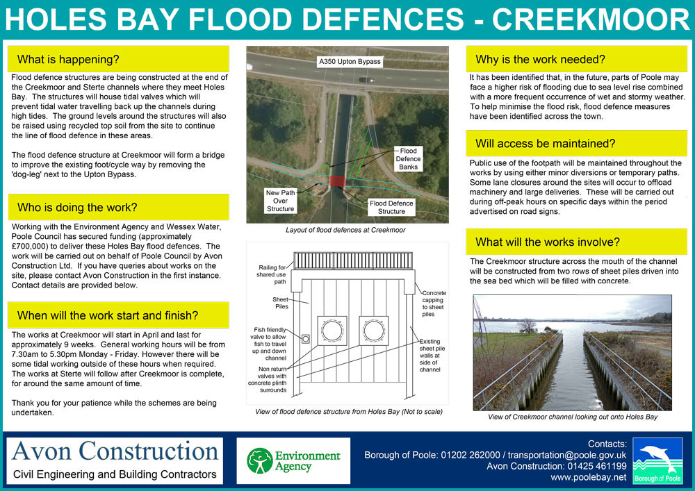 The Creekmoor Channel works site notice (PDF download)