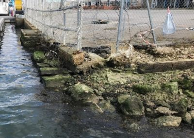 Example of the very low level and poor condition of the current quay walls