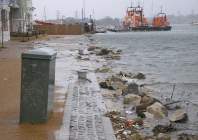 Tidal water overtopping the sea wall at Lifeboat Quay, 2008