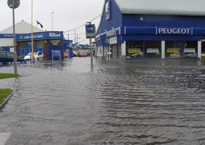 A flood event at West Quay Road by Poole Bridge, 2008