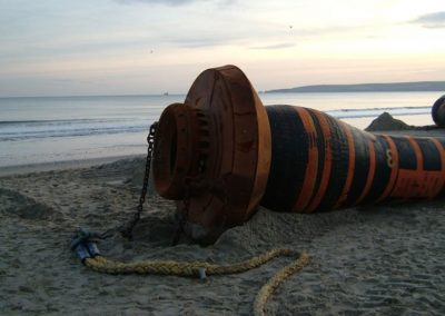Sinkerline brought ashore - the coupling system