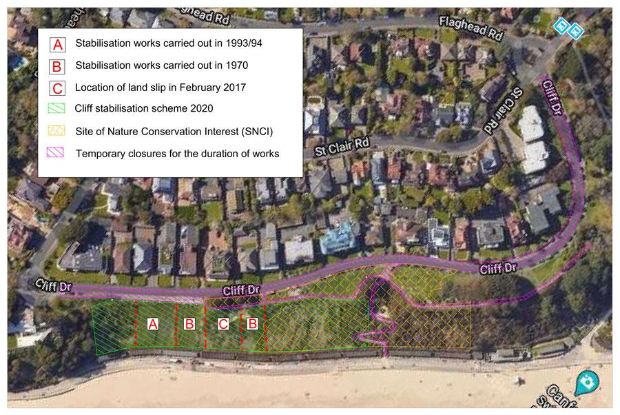 Stabilisation works at Canford Cliffs
