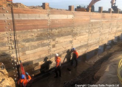 Recycled wood is then used for the bottom 12-14 rows, up to 7.5m below beach level