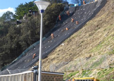 February: covering the slope in an erosion protection facing system