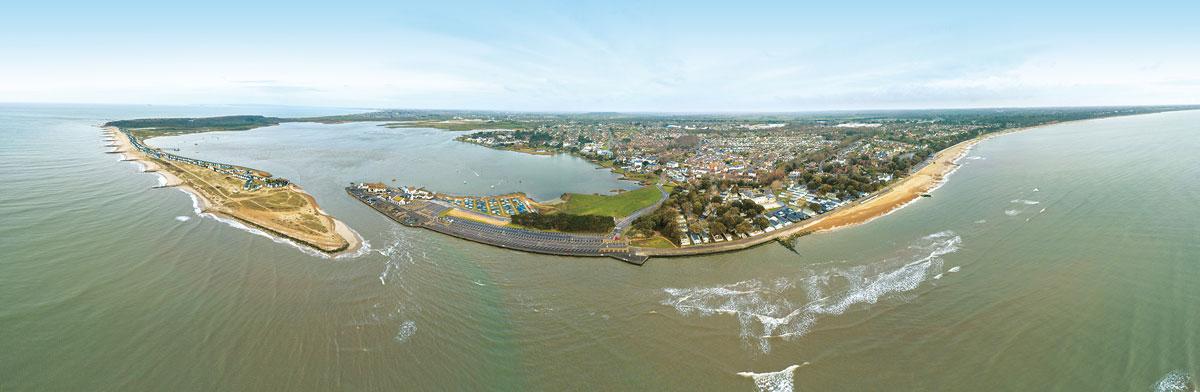 Christchurch Bay & Harbour aerial panorama