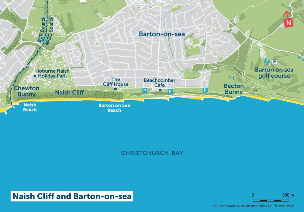 PDZ1 Map 4 Naish Cliff and Barton on Sea