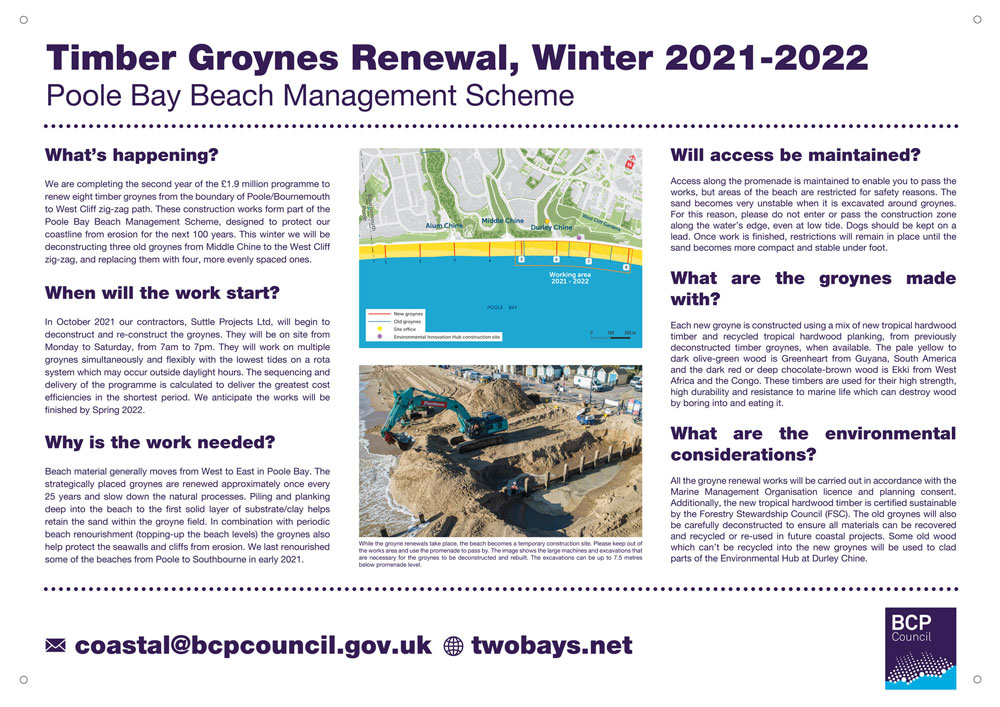 Timber Groynes Renewal winter 2021/22, site signage